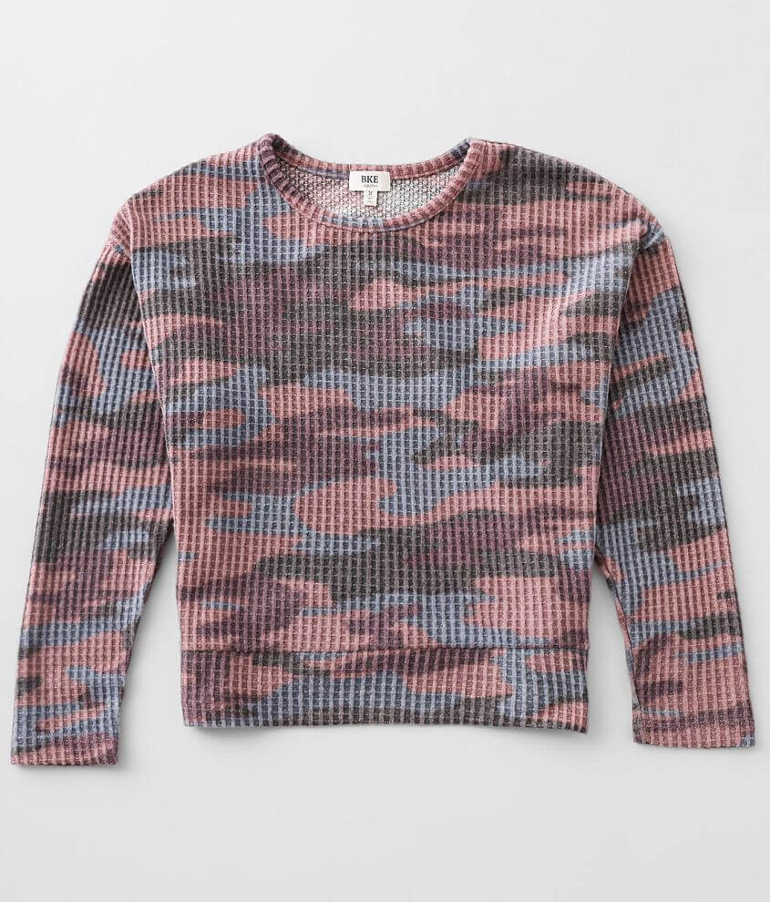 Girls - Daytrip Camo Waffle Top front view