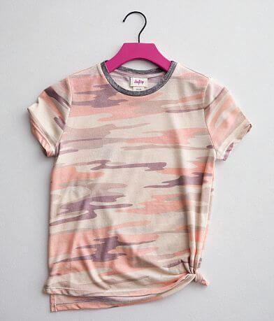 Girls - Daytrip Camo Print Side Tie T-Shirt