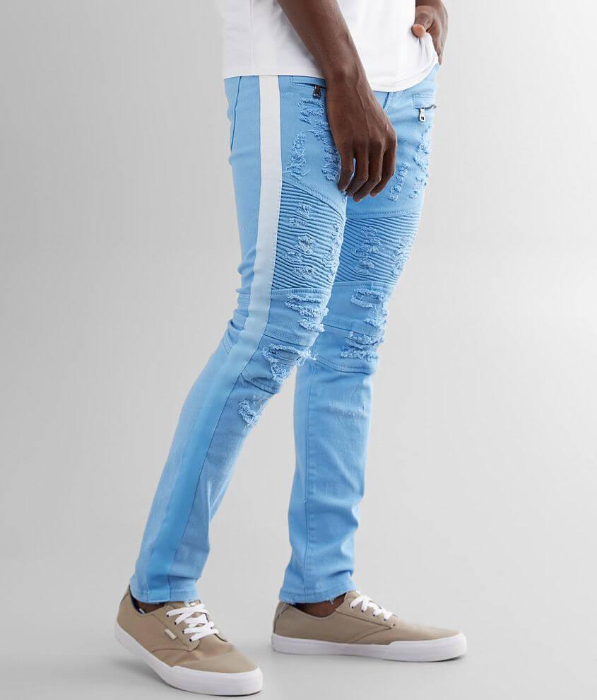 PREME Blue Moto Skinny Stretch Jean front view