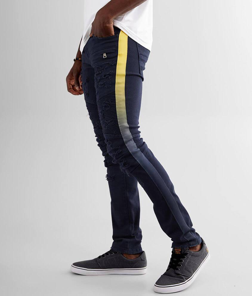 PREME Navy Moto Skinny Stretch Jean front view