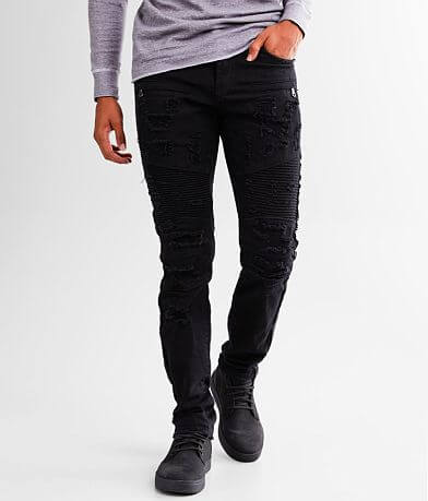 PREME Buffalo Black Moto Skinny Stretch Jean