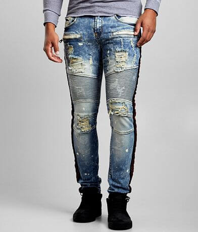 PREME Indigo Red Stones Moto Skinny Stretch Jean