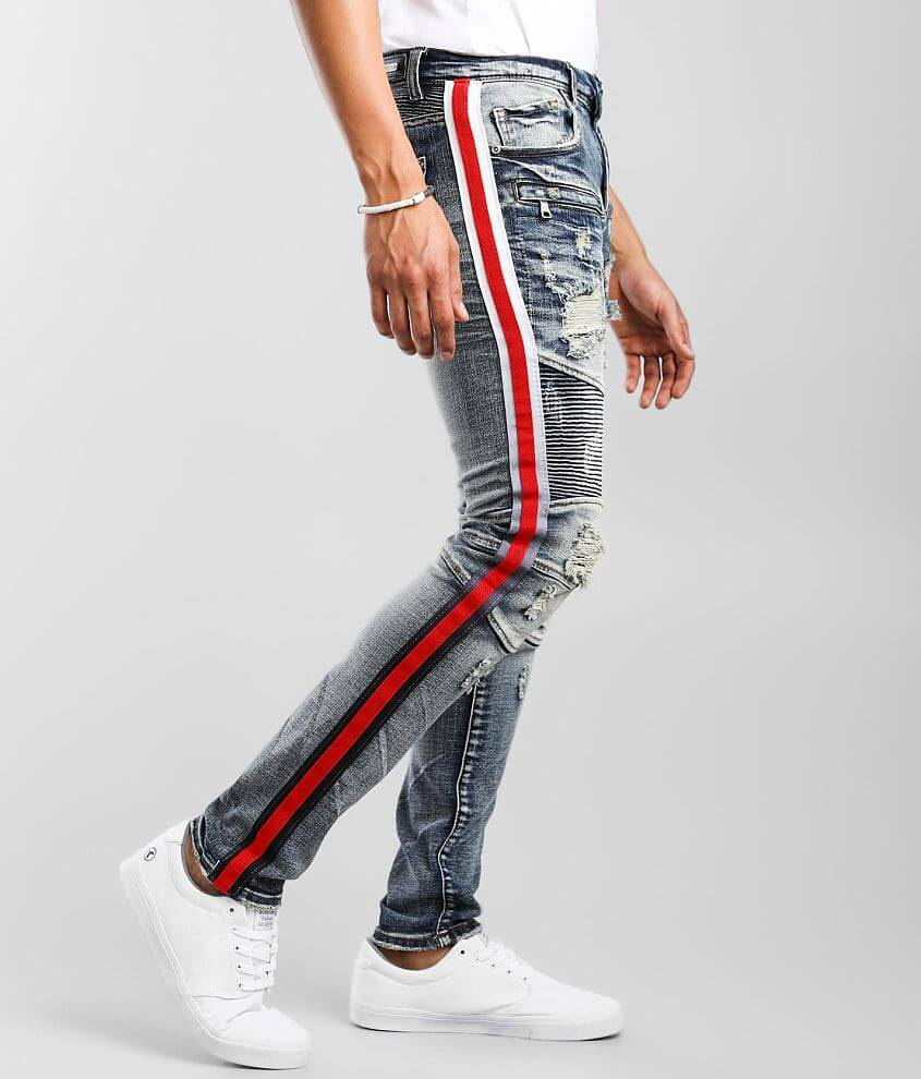 PREME Indigo Moto Skinny Stretch Jean front view