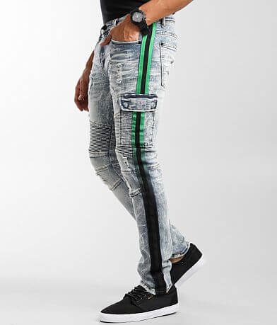 PREME Indigo Moto Skinny Cargo Stretch Jean