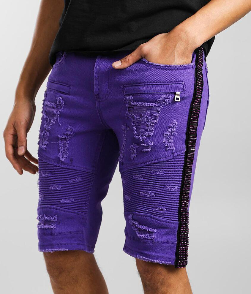 PREME Purple Rhinestone Stretch Short front view