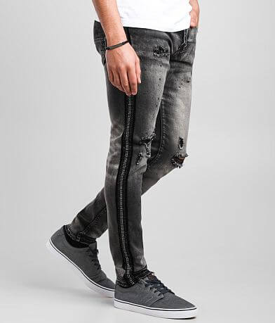 PREME Rhinestone Grey Skinny Stretch Jean