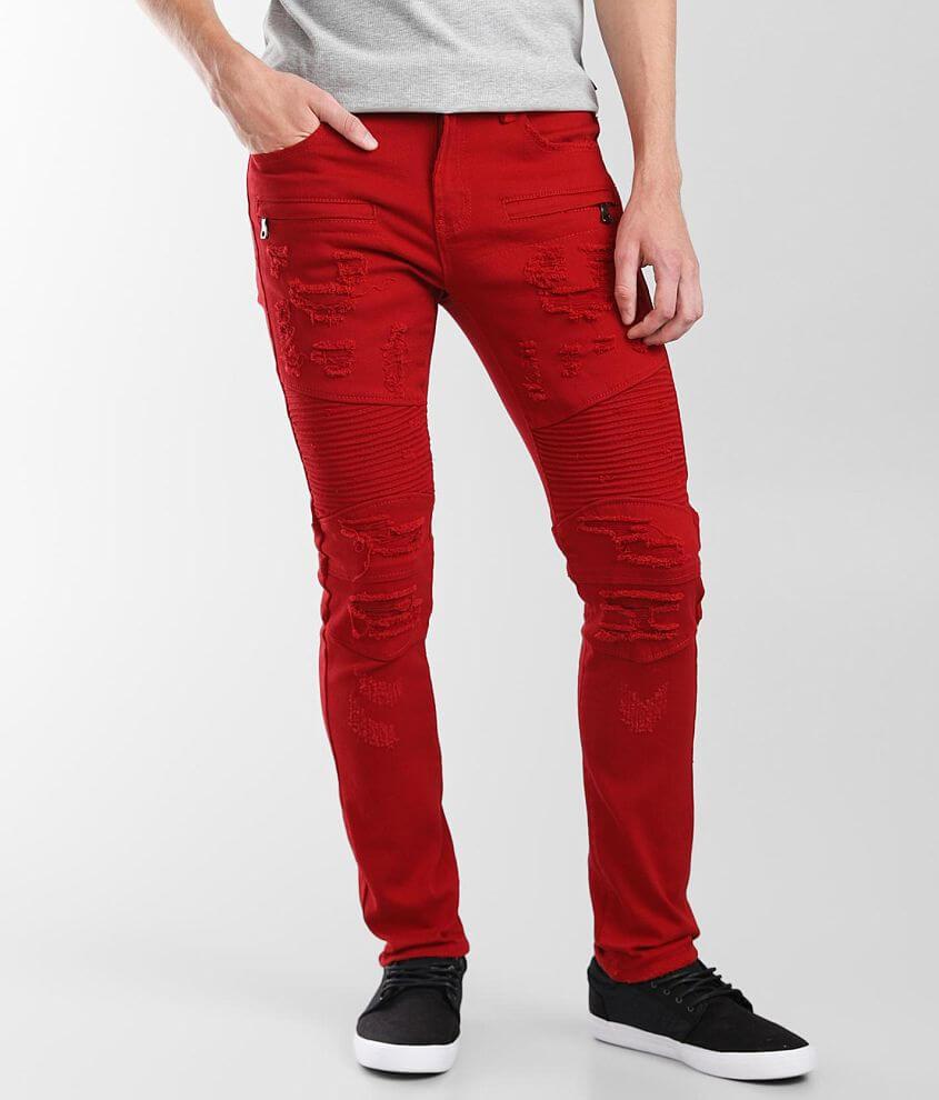 PREME Red Moto Skinny Stretch Jean front view