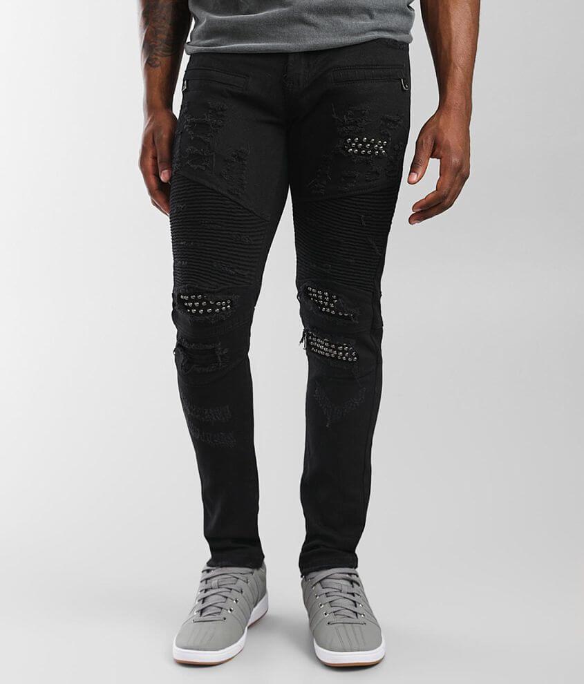 PREME Black Moto Skinny Stretch Jean front view