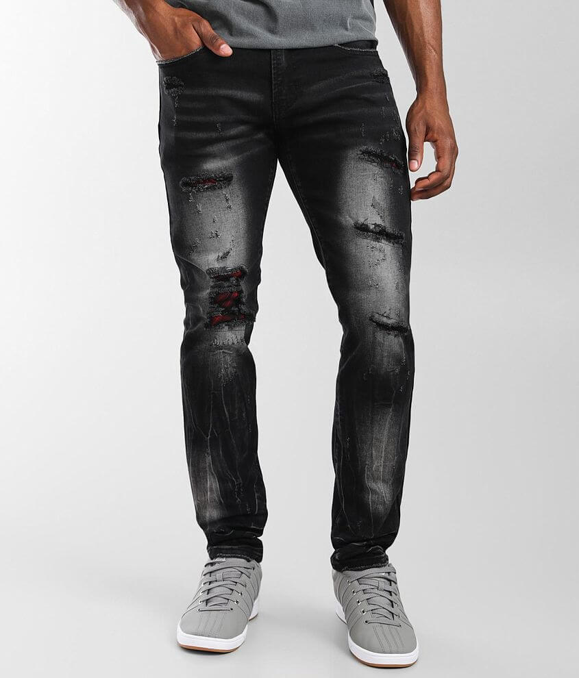 PREME Black Washed Skinny Stretch Jean front view