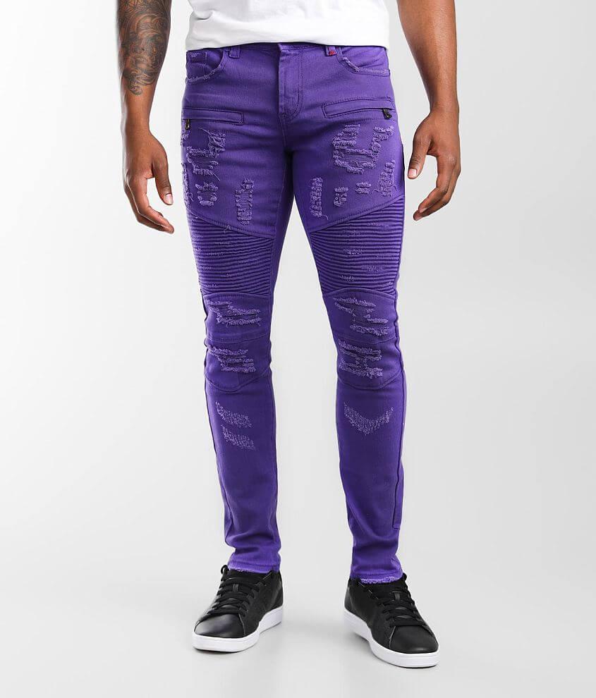 PREME Purple Moto Skinny Stretch Jean front view