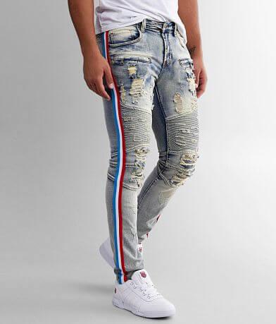 PREME Moto Side Stripe Skinny Stretch Jean
