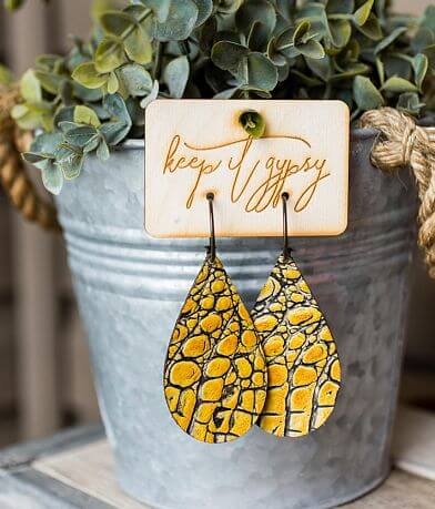 Keep It Gypsy Textured Crocodile Leather Earring
