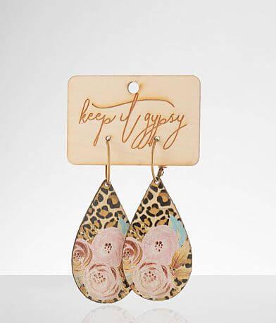 Keep It Gypsy Leopard Floral Leather Earring