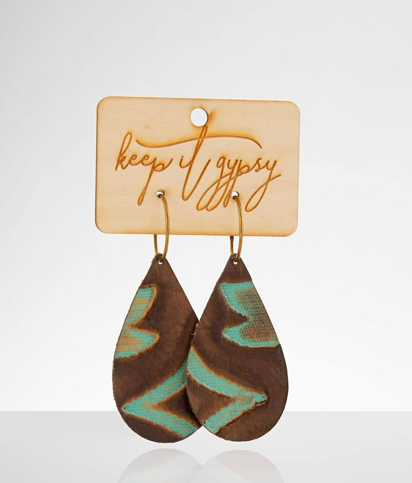 Keep It Gypsy Western Leather Earring front view