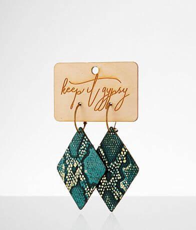 Keep It Gypsy Diamond Snake Leather Earring