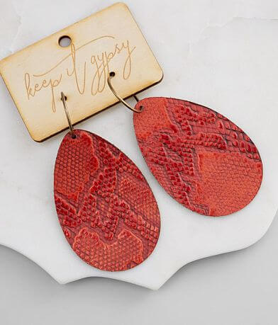 Keep It Gypsy Snake Print Leather Earring