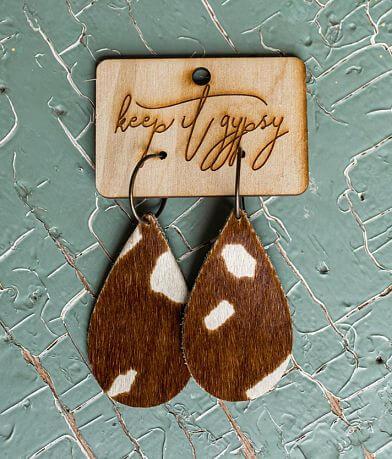 Keep It Gypsy Cowhide Leather Earring