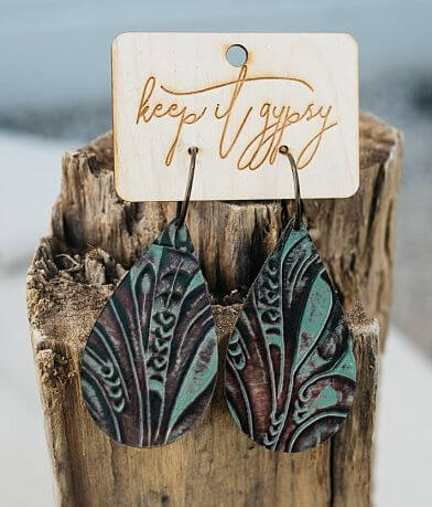 Keep It Gypsy Embossed Leather Earring