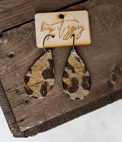 Keep It Gypsy Metallic Leopard Leather Earring