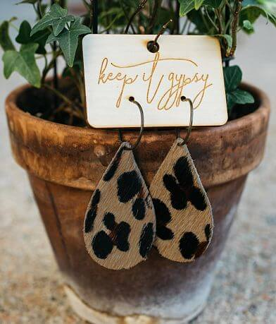 Keep It Gypsy Leopard Print Leather Earring
