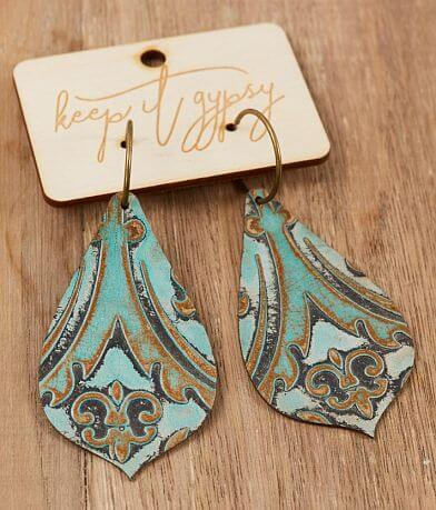 Keep It Gypsy Turquoise Tooled Leather Earring