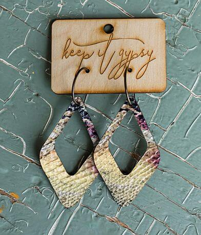 Keep It Gypsy Textured Snakeskin Leather Earring