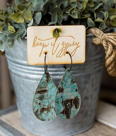 Keep It Gypsy Distressed Leather Earring