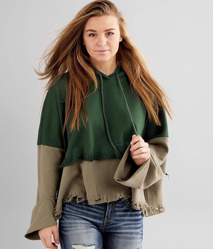 Gilded Intent Boxy Color Block Hooded Sweatshirt front view
