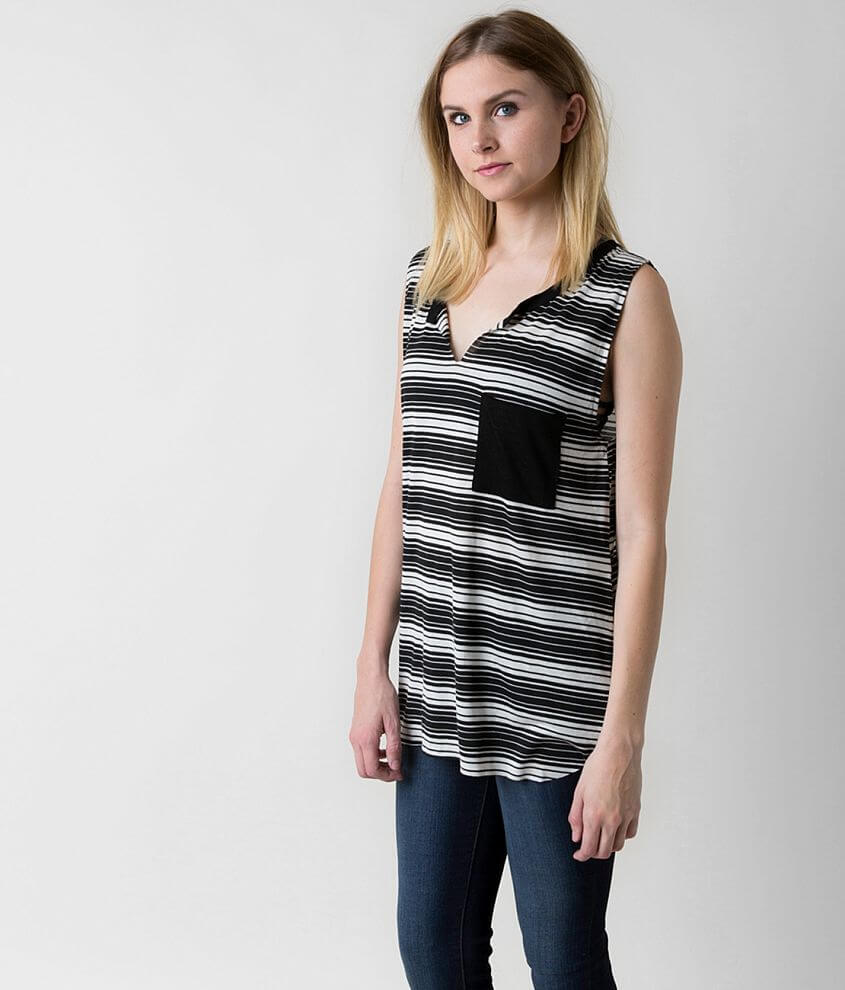 Knot Sisters Striped Tank Top front view
