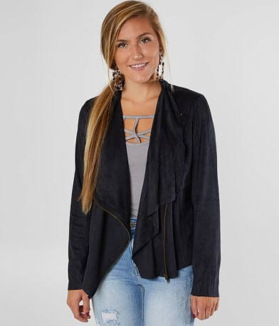 Sandy & Sid Faux Suede Asymmetrical Jacket