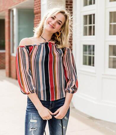 Sandy & Sid Striped Cold Shoulder Top