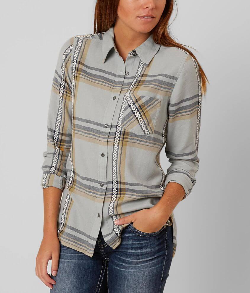 Bke Plaid Shirt Womens Shirtsblouses In Puritan Grey Buckle