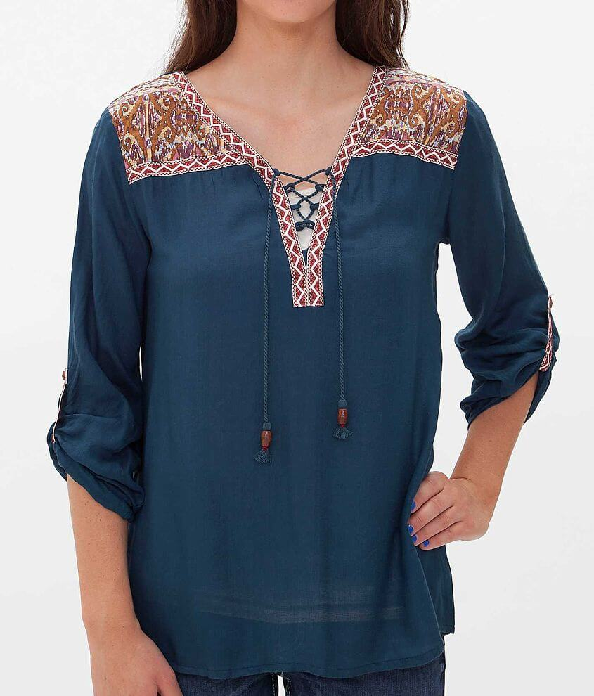 Gimmicks by BKE Lace-Up Top front view