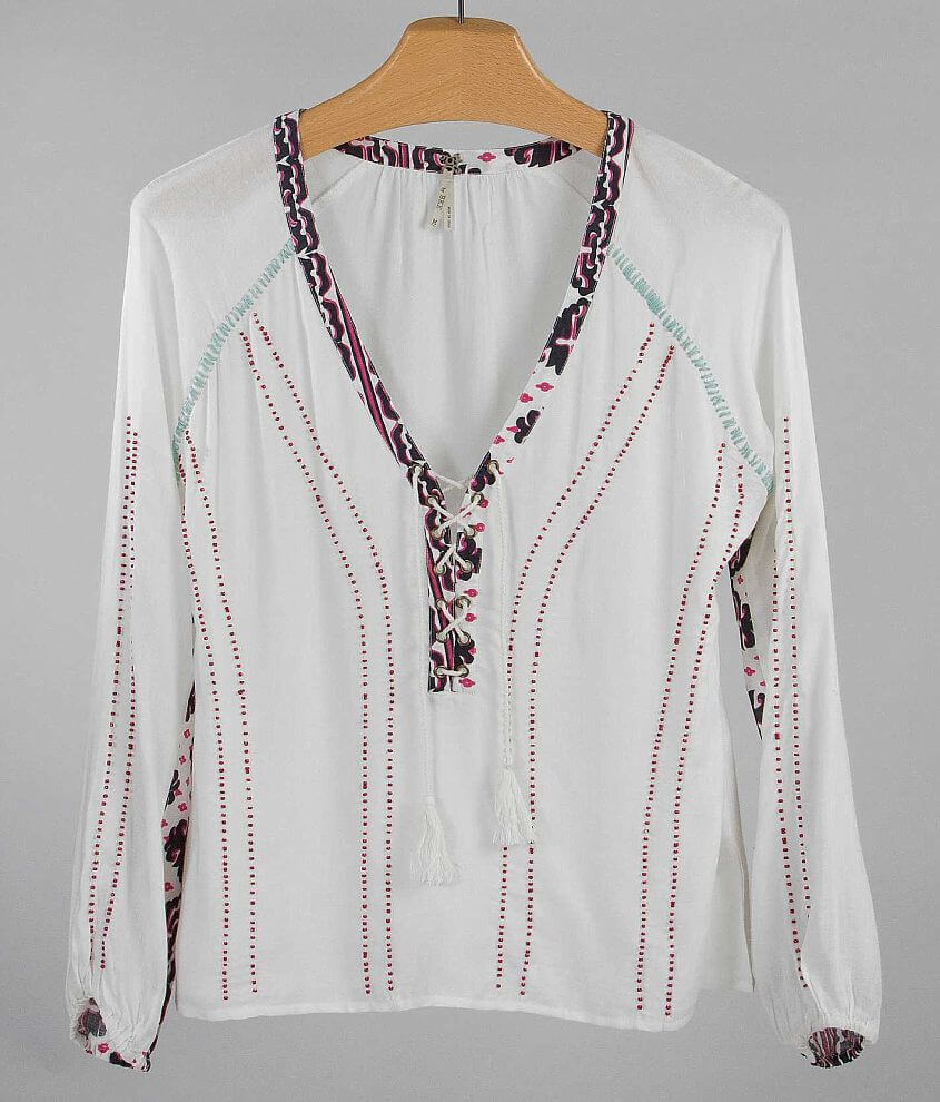 Gimmicks by BKE Beaded Top front view