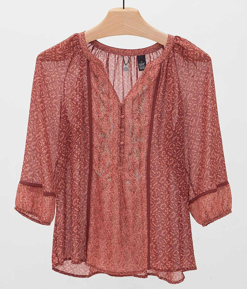 BKE Boutique Chiffon Henley Top front view
