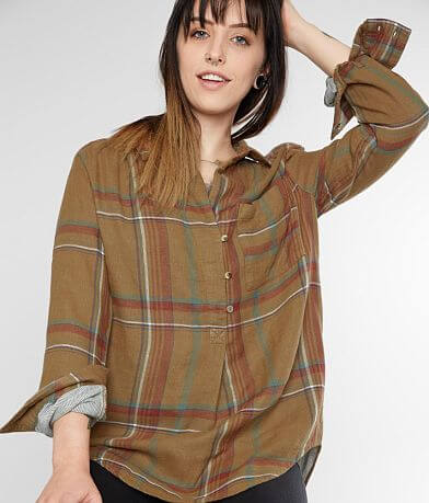 Gilded Intent Woven Plaid Henley Top
