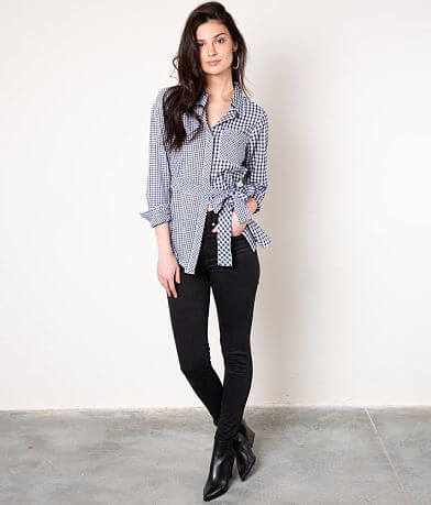 Buckle Black Gingham Belted Shirt
