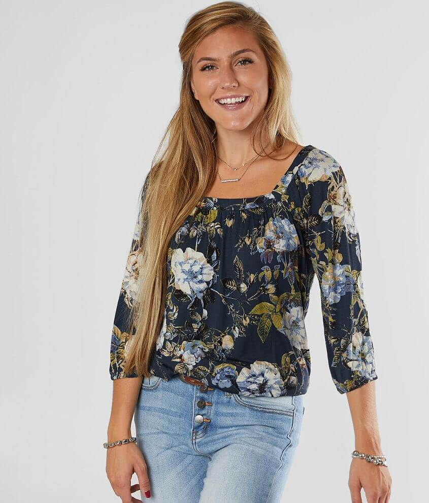 Willow & Root Floral Slub Knit Top front view