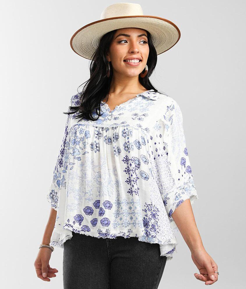 Daytrip Floral Pointelle Collared Blouse front view