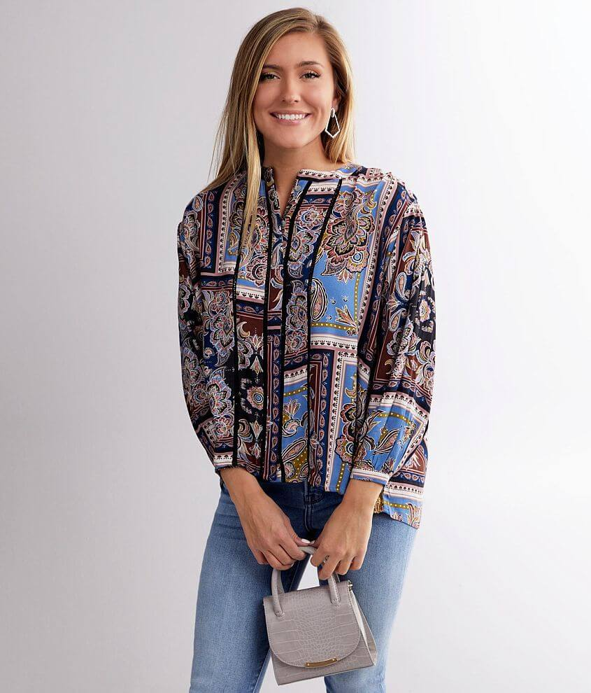 Daytrip Floral Patchwork Blouse front view