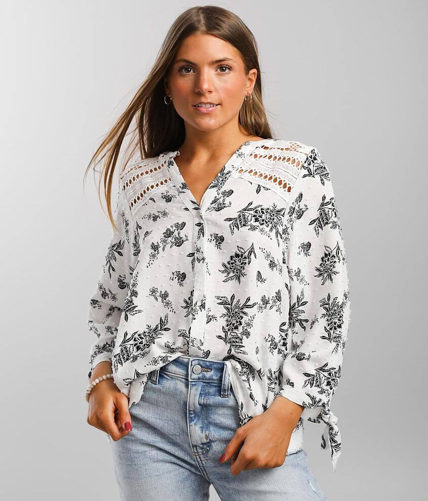 Daytrip Floral Print Crochet Inset Top front view
