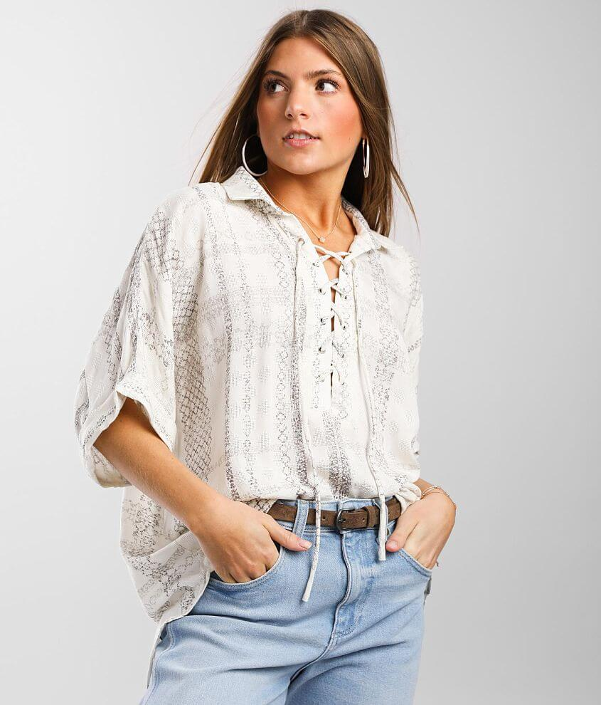 Daytrip Jacquard Lace-Up Blouse front view