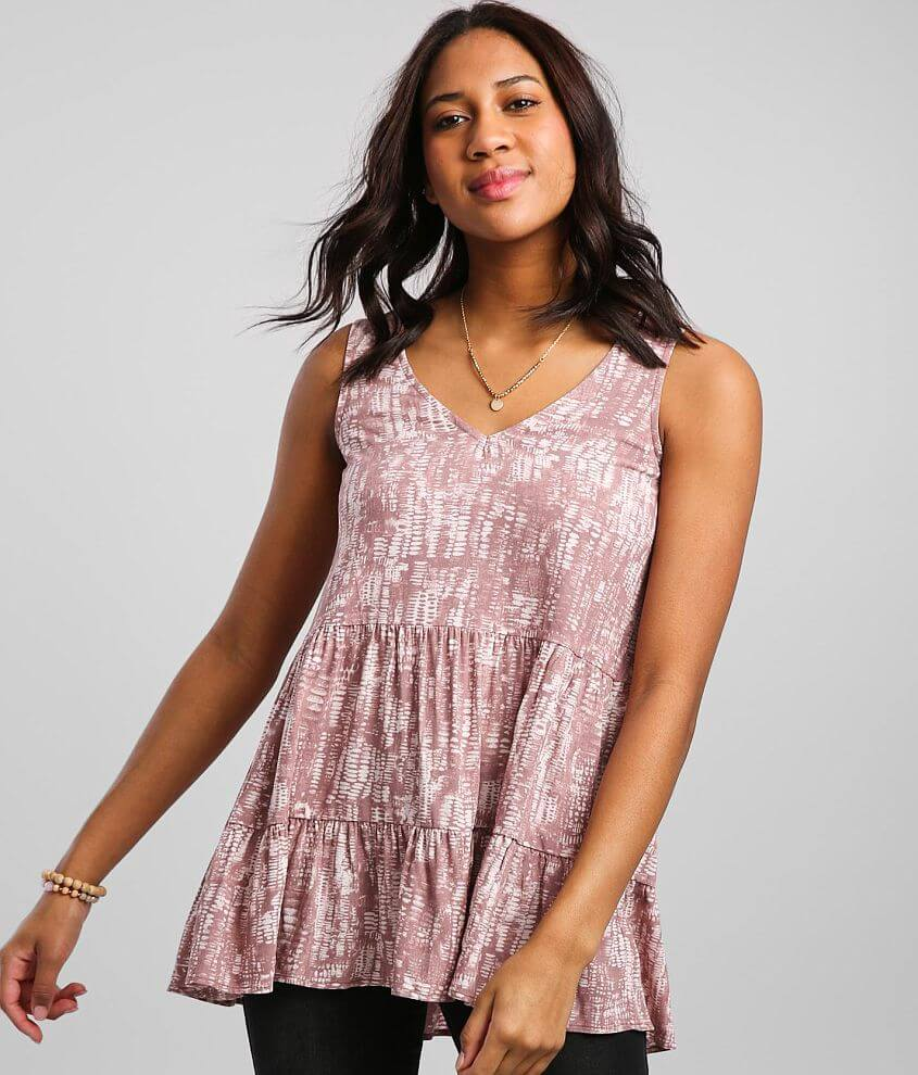 Daytrip Tiered Babydoll Tank Top front view