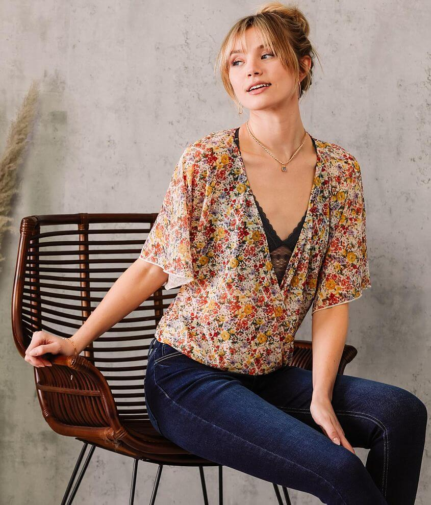 Willow & Root Floral Flutter Sleeve Top front view