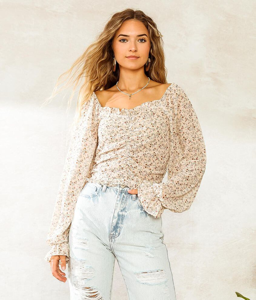 Willow & Root Ruched Dainty Floral Crop Top front view