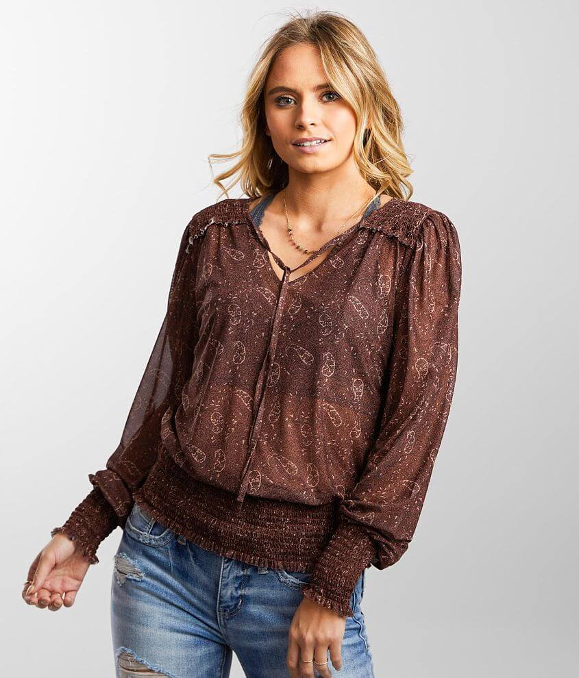Daytrip Mesh Knit Floral Paisley Print Top front view