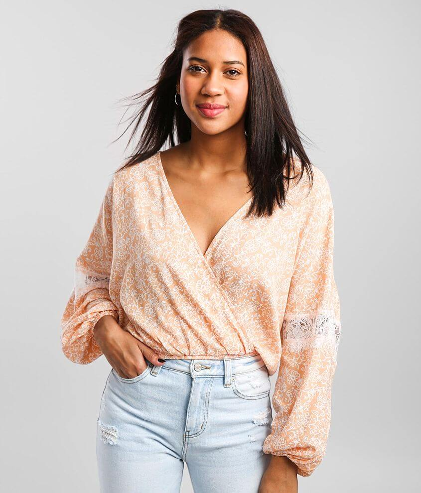 Daytrip Floral Woven Surplice Top front view