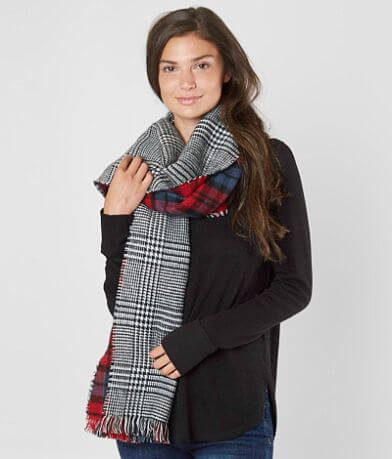evelyn K Plaid Fringe Blanket Scarf