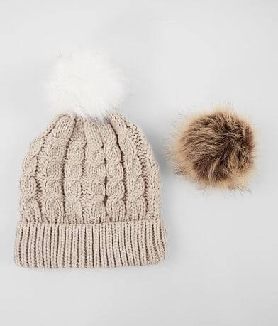 Interchangeable Pom Braided Knit Beanie