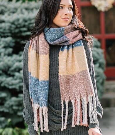 evelyn K Oblong Plaid Scarf